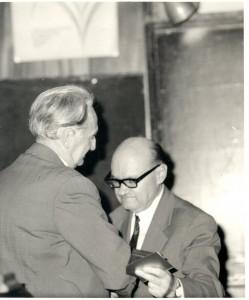 честването на 60-годишнината на проф. Тагамлицки 1977 г. (с академик Любомир Илиев)